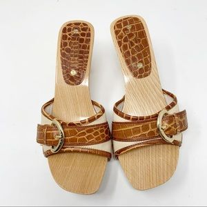 Celine Wooden and Leather Mules Heels 36